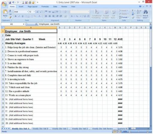 Employee Evaluation Sample Sheet