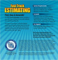 Fast Track Estimating Software Back Cover