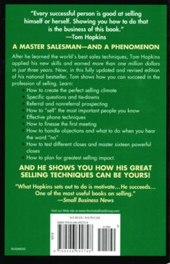 Back Cover, Tom Hopkins How To Master the Art of Selling
