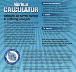 Markup Calculator Software Back Cover