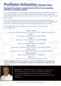 Profitable Estimating Training DVD Back Cover