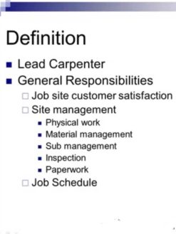 Lead Carpenter Production Training